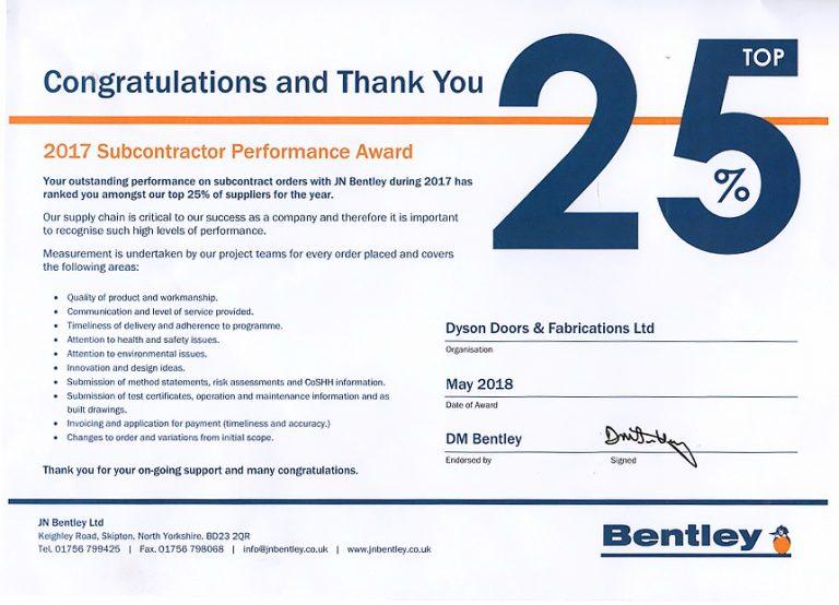 bentleys subcontractor certificate